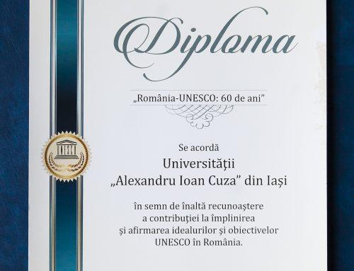 Diplomă onorifică acordată de UNESCO România