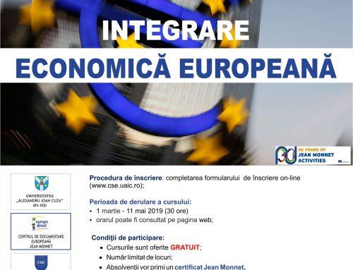 """Curs gratuit Jean Monnet – """"Integrare economică europeană"""""""