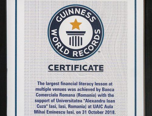 UAIC a primit certificatul GUINNESS WORLD RECORDS™ pentru cea mai mare lecție de educație financiară din lume